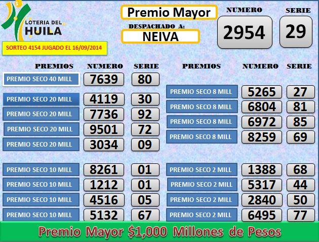 Loteria de Santander 4154 Martes 16 septembrie 2014