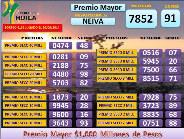 Loteria de Santander 4156 Martes 30 septembrie 2014