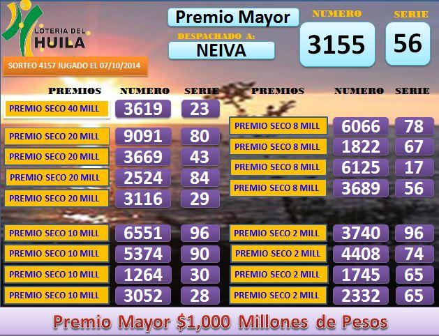 Loteria de Santander 4157 Martes 7 octombrie 2014
