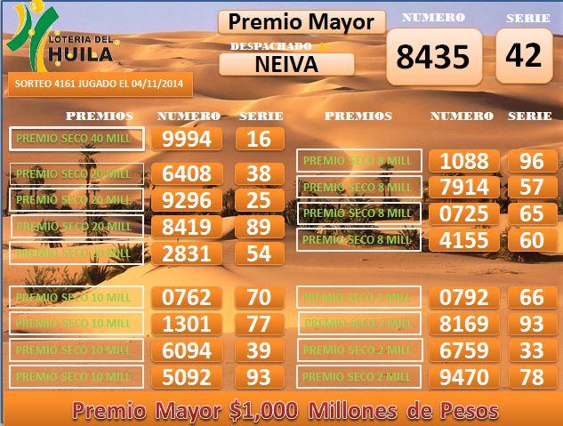 Loteria de Santander 4161 Martes 4 noiembrie 2014