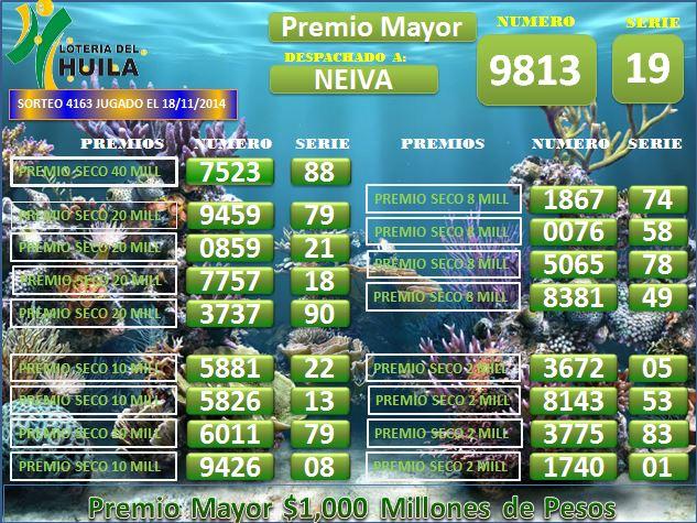 Loteria de Santander 4163 Martes 18 noiembrie 2014